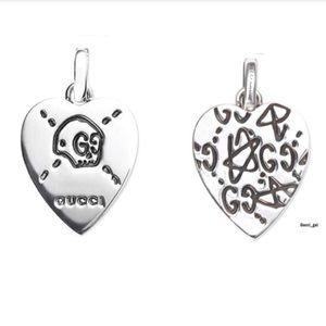 New Gucci Ghost Reversible Heart Pendant Charm